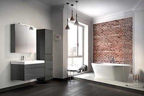 bad11 badm belset pandora 3 teilig 80 cm badezimmer m bel in hochglanz grau mit waschplatz. Black Bedroom Furniture Sets. Home Design Ideas