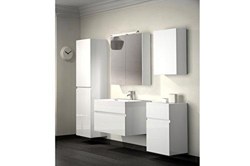 bad11 badm belset pandora 5 teilig 70 cm badezimmer m bel in hochglanz wei mit waschplatz. Black Bedroom Furniture Sets. Home Design Ideas