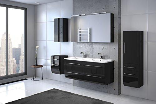 Bad11-Badmbelset-ZESIRO-CLASSIC-in-Hochglanz-schwarz-6-teiliges-Komplettset-mit-Doppelwaschbecken-inklusive-Keramik-Waschbecken-Unterschrank-Hochschrank-und-Hngeschrank-bieten-viel-Stauraum-2-x-Spiege-0