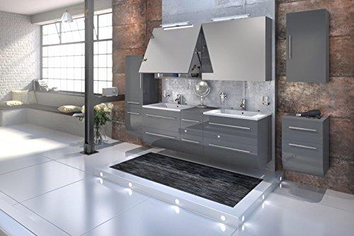 Bad11-Badmbelset-ZESIRO-Deluxe-in-Hochglanz-grau-6-teiliges-Komplettset-mit-Doppelwaschbecken-inklusive-Keramik-Waschbecken-Unterschrank-Hochschrank-und-Hngeschrank-bieten-viel-Stauraum-2-x-Spiegelsch-0