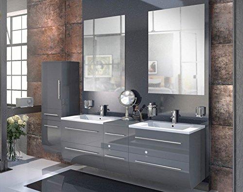 Bad11-Badmbelset-ZESIRO-in-Hochglanz-grau-4-teiliges-Komplettset-mit-Doppelwaschbecken-inklusive-Keramik-Waschbecken-Hochschrank-bietet-viel-Stauraum-2-x-Spiegel-Farbauswahl-0