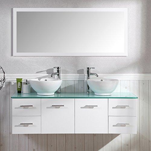 Badezimmer Komplett-Set Badmöbel inkl. Spiegel, Unterschrank, 2 Waschbecken und 2 Armaturen Badezimmermöbel Set