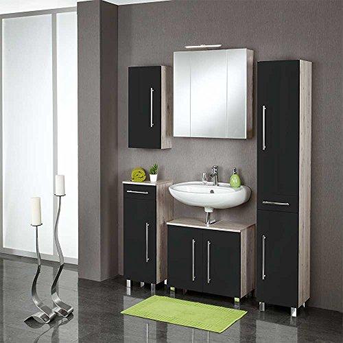 Badezimmer-Komplettset-Etry-in-Dunkelgrau-Hochglanz-mit-Bluetooth-5-teilig-Pharao24-0