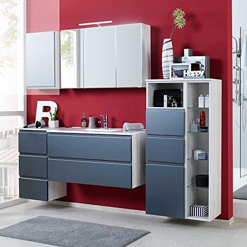 Badezimmer-Komplettset-in-Grau-Hochglanz-Eiche-Wei-modern-4-teilig-Breite-185-cm-Pharao24-0