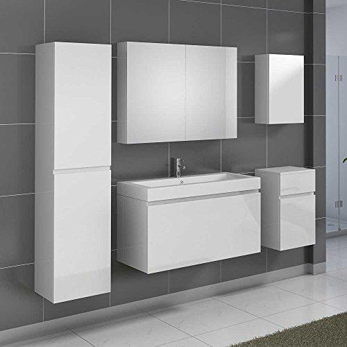 Badezimmer-Komplettset-in-Hochglanz-Wei-mit-Waschtisch-5-teilig-Pharao24-0