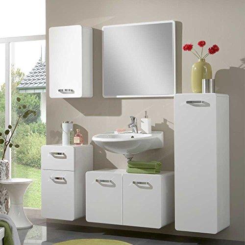 Badezimmer-Komplettset-mit-Spiegel-Wei-Hochglanz-5-teilig-Pharao24-0