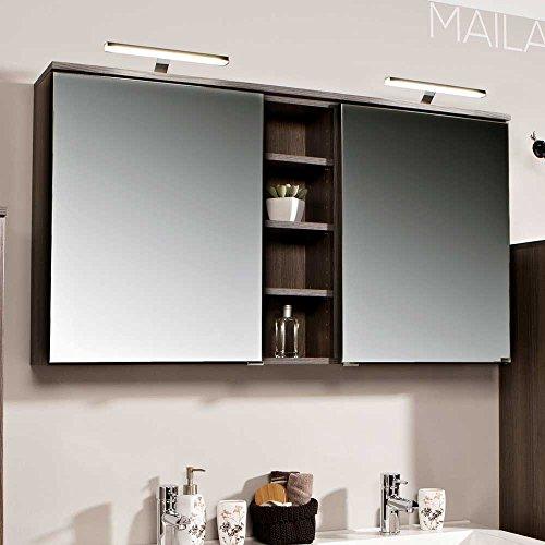 Badezimmer Spiegelschrank in Eiche dunkel 120 cm Pharao24