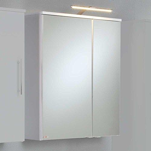 Badezimmer Spiegelschrank in Weiß matt LED Beleuchtung Pharao24
