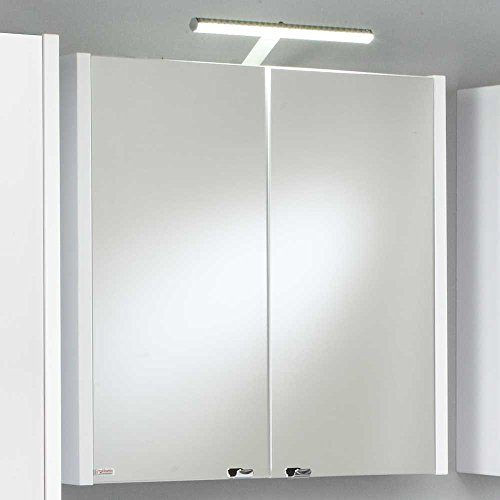 Badezimmer Spiegelschrank mit Beleuchtung Weiß Pharao24