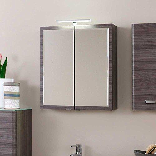Badezimmer Spiegelschrank mit LED-Aufbauleuchte Eiche dunkel Pharao24