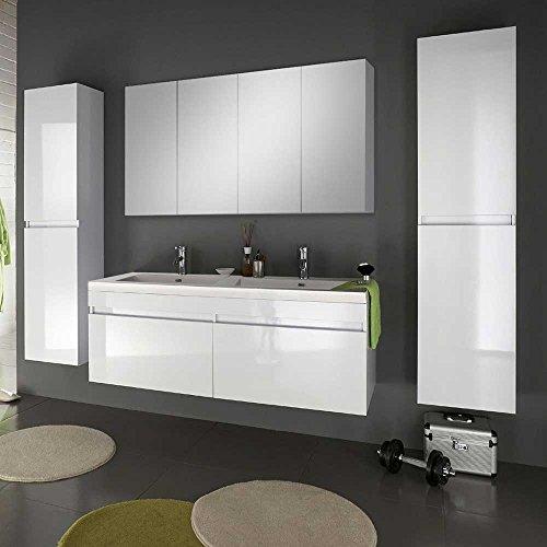 Badezimmermöbel Set mit Doppelwaschbecken Hochglanz Weiß (4-teilig) Pharao24