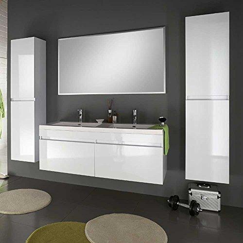 Badezimmermöbel Set mit Doppelwaschtisch Weiß Hochglanz (4-teilig) Pharao24