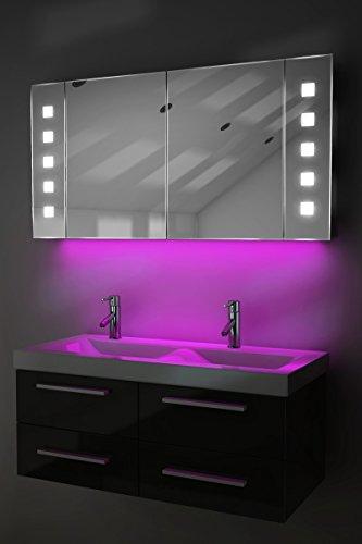 Badezimmerspiegelschrank mit Beleuchtung, Sensor und Rasierersteckdose K123P
