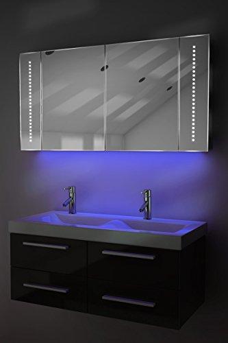 Badezimmerspiegelschrank mit Raumbeleuchtung, Sensor & Rasiersteckdose K125U