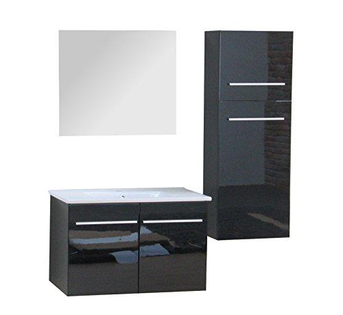 Badmbel-Badezimmer-Set-Bad-MIT-WASCHBECKEN-schwarz-Hochglanz-Spiegel-Schrank-0