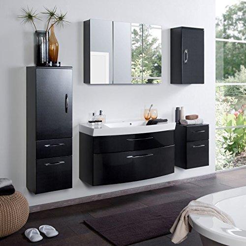 Badmbel-Set-Badezimmermbel-PARIS-Komplett-Set-Waschbeckenschrank-mit-Waschtisch-und-beleuchtetem-Spiegelschrank-LED-in-Anthrazit-Hochglanz-Schwarz-0