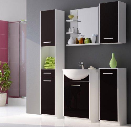 Badmbel-Set-Badezimmermbel-mit-Waschbecken-wei-matt-schwarz-hochglanz-0