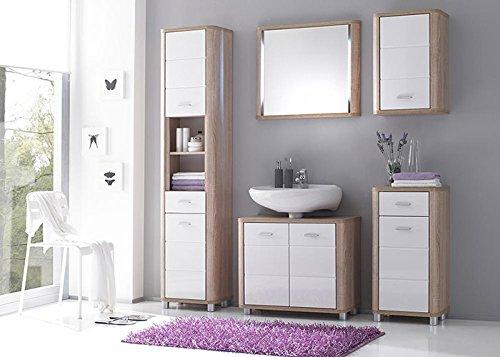 Badmbel-Set-VITAL-5-Tlg-Bad-Badschrank-Badezimmer-Eiche-Sonoma-wei-glanz-0
