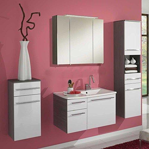 badm bel set in wei hochglanz pinie anthrazit komplett 4 teilig pharao24 m bel24. Black Bedroom Furniture Sets. Home Design Ideas