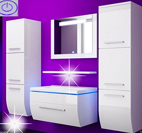 Badmbelset-Badezimmermbel-Komplett-Set-Waschbeckenschrank-mit-Waschtisch-Spiegel-2-hochschrnke-mit-LED-Hochglanz-Fronten-wei-70-cm-Vormontiert-Homeline1-0