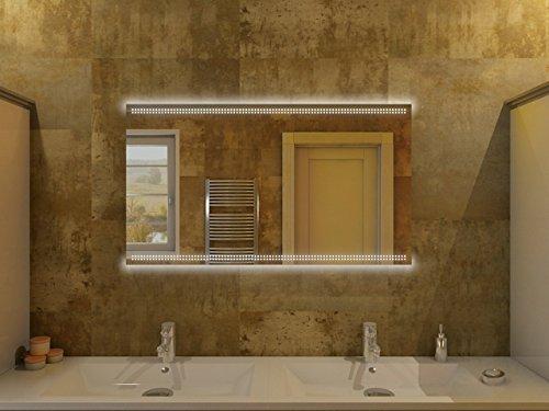 Badspiegel mit Beleuchtung Barcelona F80L2H: Design Spiegel für Badezimmer, beleuchtet mit LED-Licht, modern - Kosmetik-Spiegel Toiletten-Spiegel Bad Spiegel Wand-Spiegel
