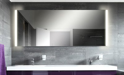 Badspiegel mit Beleuchtung Hanoi M313L2V: Design Spiegel für Badezimmer, beleuchtet mit LED-Licht, modern - Kosmetik-Spiegel Toiletten-Spiegel Bad Spiegel Wand-Spiegel