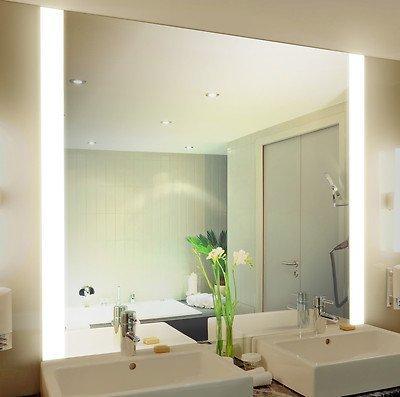 Badspiegel mit Beleuchtung Iona M313L2V: Design Spiegel für Badezimmer, beleuchtet mit LED-Licht, modern - Kosmetik-Spiegel Toiletten-Spiegel Bad Spiegel Wand-Spiegel