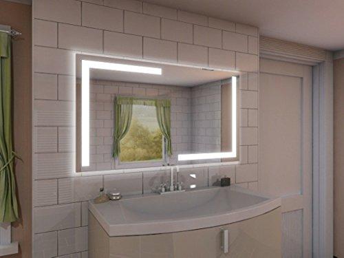 Badspiegel mit Beleuchtung Korlin M202L4: Design Spiegel für Badezimmer, beleuchtet mit LED-Licht, modern, groß, ohne Rahmen, rahmenlos - Kosmetik-Spiegel Toiletten-Spiegel Bad Spiegel Wand-Spiegel mit Beleuchtung