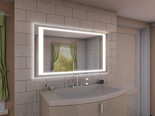 Badspiegel mit Beleuchtung NJ2 M402L4: Design Spiegel für Badezimmer, beleuchtet mit LED-Licht, modern - Kosmetik-Spiegel Toiletten-Spiegel Bad Spiegel Wand-Spiegel
