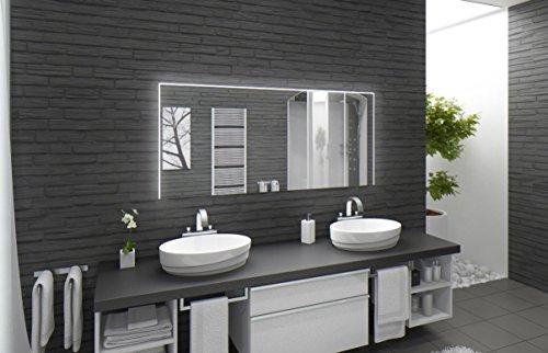 Badspiegel mit Beleuchtung Santa Rosa M220L3: Design Spiegel für Badezimmer, beleuchtet mit LED-Licht, modern - Kosmetik-Spiegel Toiletten-Spiegel Bad Spiegel Wand-Spiegel