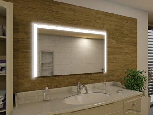 Badspiegel mit Beleuchtung Seattle M91L3: Design Spiegel für Badezimmer, beleuchtet mit LED-Licht, modern - Kosmetik-Spiegel Toiletten-Spiegel Bad Spiegel Wand-Spiegel