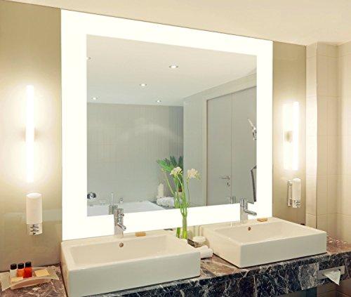 Badspiegel mit Beleuchtung Vella M444L4: Design Spiegel für Badezimmer, beleuchtet mit LED-Licht, modern, groß, ohne Rahmen, rahmenlos - Kosmetik-Spiegel Toiletten-Spiegel Bad Spiegel Wand-Spiegel mit Beleuchtung