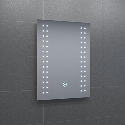 Badspiegel mit energiesparender LED-Beleuchtung warmweiß IP44 [Energieklasse A+] 50 x 70cm beschlagfrei