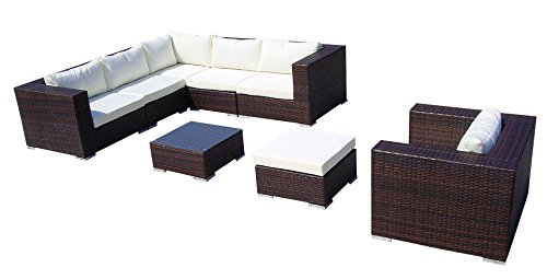 vidaxl poly rattan gartenm bel lounge set rund wei moebel24. Black Bedroom Furniture Sets. Home Design Ideas