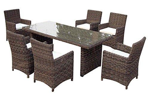 Baidani-Gartenmbel-Sets-10a00016-Designer-Rattan-Essgruppe-Essence-1-Tisch-mit-Glasplatte-6-Sthle-mit-Armlehnen-und-Sitzauflage-graubraun-meliert-grau-0