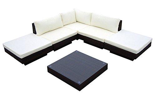 Baidani-Gartenmbel-Sets-10c0000200002-Designer-Rattan-Lounge-Sunqueen-1-Sofa-1-Beistelltisch-mit-Glasplatte-braun-0