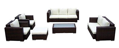 Baidani Gartenmöbel-Sets 10c00004.00002 Designer Lounge-Wohnlandschaft Daylight, 3-er Sofa, 2-er Sofa, 1 Hocker, 1 Couchtisch mit Glasplatte, 2 Sessel, Sitzauflagen, schwarz