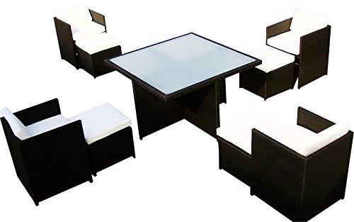 Baidani Gartenmöbel-Sets 10c00032.00002 Designer Sitz-Garnitur Emotion, 1 Tisch mit Glasplatte, 4 Stühle, 4 Hocker, Sitzauflagen, Rückenkissen, braun