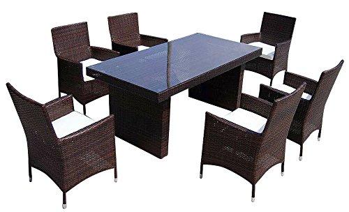 Baidani-Gartenmbel-Sets-10c0003500002-Designer-Rattan-Sitz-Garnitur-Elegancy-1-Tisch-mit-Glasplatte-6-Sthle-mit-Armlehnen-und-Sitzauflage-braun-0