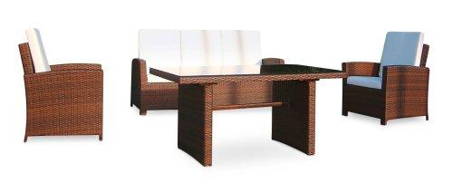 Baidani-Gartenmbel-Sets-10c0003900002-Designer-Rattan-Lounge-Garnitur-Comfort-3-er-Sofa-Sessel-Auflagen-Rckenkissen-1-Tisch-mit-Glasplatte-braun-0