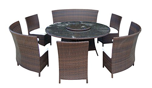 Baidani-Gartenmbel-Sets-10d0001300002-Designer-Lounge-Garnitur-Timeless-1-Tisch-mit-Glasplatte-3-Sthle-Doppelsitzer-passenden-Sitzauflagen-braun-0