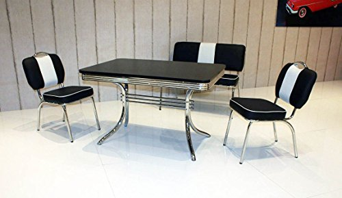 Bank-Sitzgruppe American Diner Paul King6 4tlg in schwarz schwarz