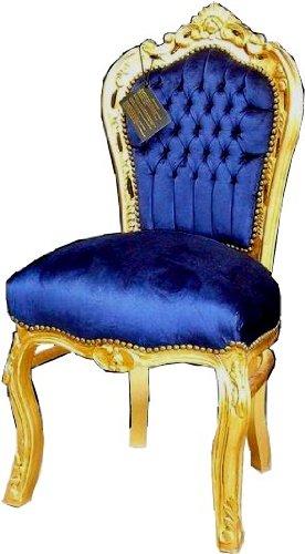 Barock Esszimmer Stuhl Royalblau/Gold - Thron Sofa Möbel Rokoko Prunk Tron Prunkstuhl