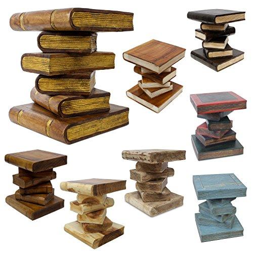 Bücherhocker Buch Hocker Nachttisch Beistelltisch Podest Bücher-Stapel 40cm Akazie Holz