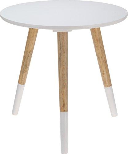 Beistelltisch Couchtisch Telefontisch Sofatisch Design Holz Tisch Dreibeiner weiss 40 x 39 cm