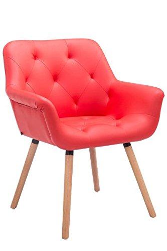 Besucherstuhl, Konferenzstuhl, Wartezimmerstuhl, Stuhl, Esszimmerstuhl, Küchenstuhl, Wohnzimmerstuhl, Wartestuhl, Messestuhl Materiealmix natura/rot #Cassidy