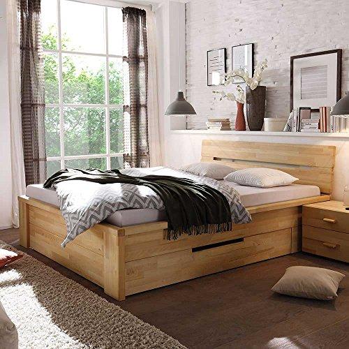 bett mit schubladen kernbuche massivholz breite 210 cm. Black Bedroom Furniture Sets. Home Design Ideas