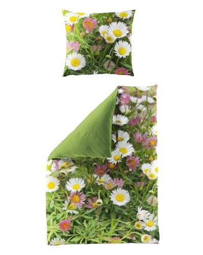 Bierbaum 5005_01 Mako-Satin Bettwäsche Dessin Digitaldruck 135 x 200 cm und 80 x 80 cm, grün