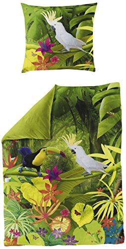 Bierbaum 5032_01 Mako-Satin Bettwäsche Dessin, Digitaldruck, 135 x 200 und 80 x 80 cm, grün
