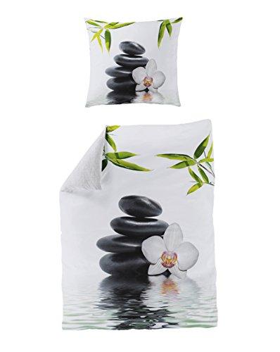 Bierbaum 5060_01 Mako-Satin Bettwäsche Dessin, Digitaldruck, 135 x 200 cm und 80 x 80 cm, weiß 01